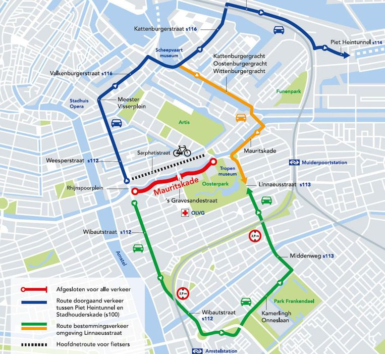 De omleidingskaart Beeld Gemeente Amsterdam