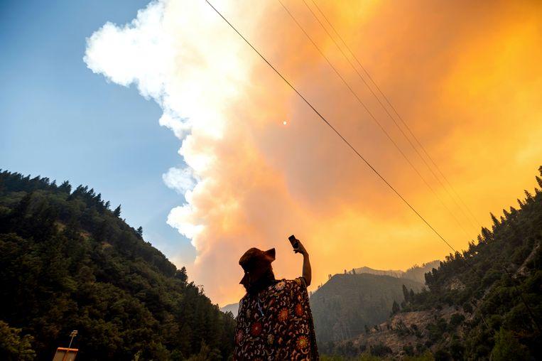 De 'Dixie fire' in het nationaal park Plumas. Beeld AP