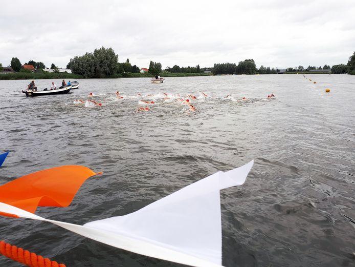 De eerste zwemmers van start bij de NK openwaterzwemmen in het Waaltje in Heerjansdam