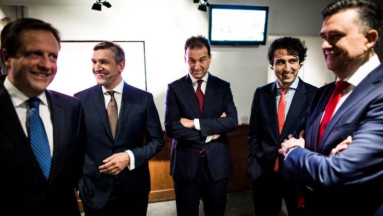 De lijsttrekkers vooraf aan het RTL-debat. Beeld Van Den Bergh Freek