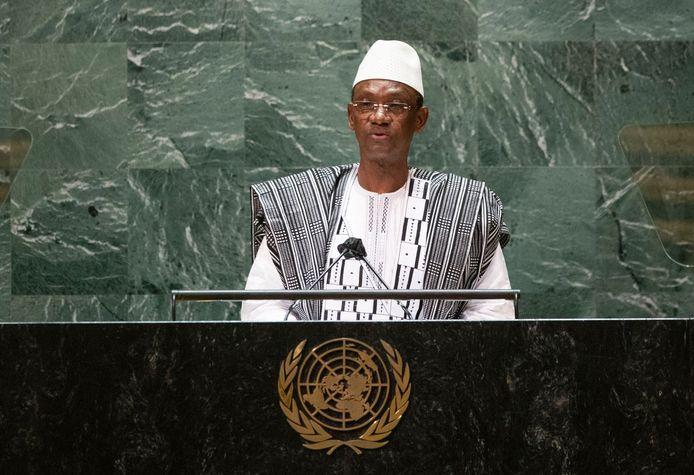 De premier van Mali, Choquel Maïga, spreekt de 76ste sessie van de Algemene Vergadering van de Verenigde Naties toe in New York, Verenigde Staten. (25/09/2021)