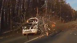 Dashcam filmt hoe boom op weg dondert vlak voor auto's