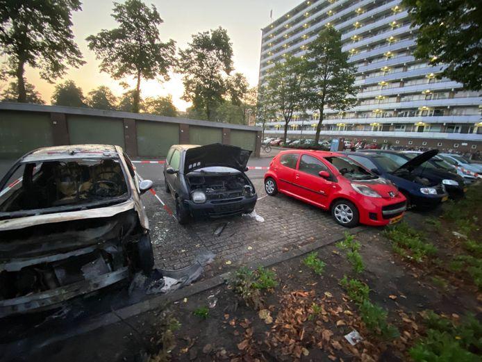 Meerdere auto's, geparkeerd bij een flat aan de Langenhorst, hebben het moeten ontgelden.
