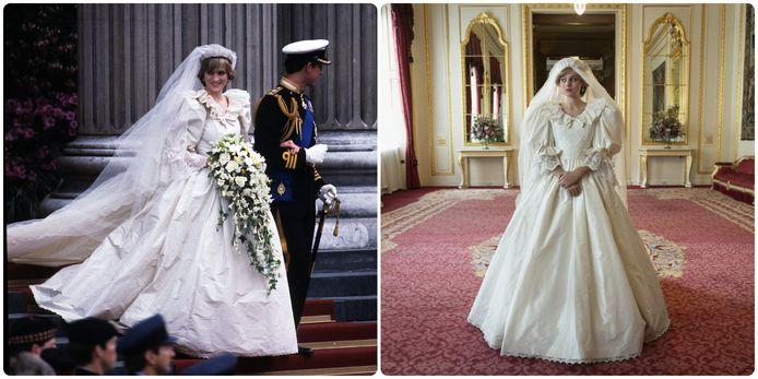 Links: prinses Diana in de originele jurk. Rechts: prinses Diana in de Netflixserie, met de replica van de jurk.