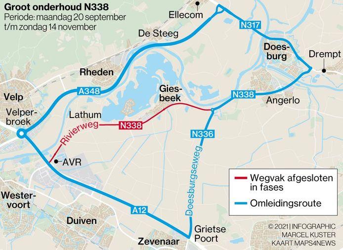 De Rivierweg (N338) tussen Duiven en Giesbeek ligt er van 20 september tot en met 14 november uit.