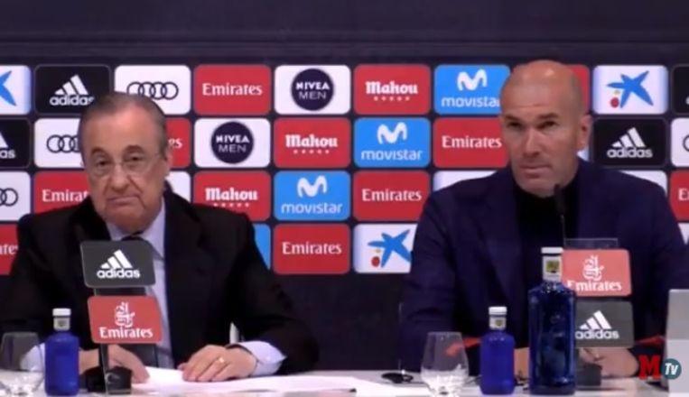 Zidane naast voorzitter Pérez op de persconferentie.