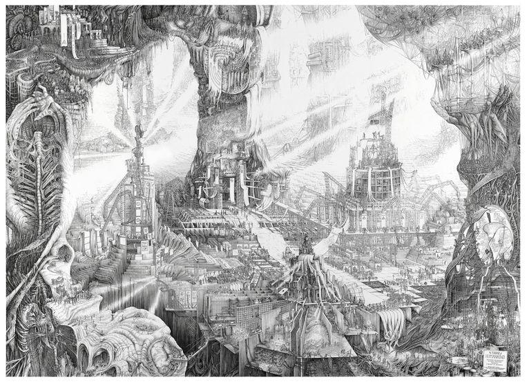 Het weefsel der mensheid van Carlijn Kingma, getekend in zwarte inkt met dunne stalen architectenpennetjes. Beeld Tony Nathan