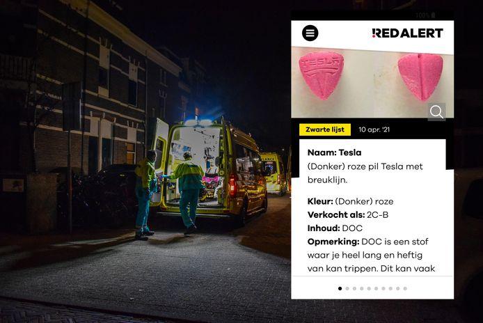 Ambulances en politie bij het studentenhuis aan de Evertsenstraat in Nijmegen. Inzet: de pil waar de studenten mogelijk onwel van werden.