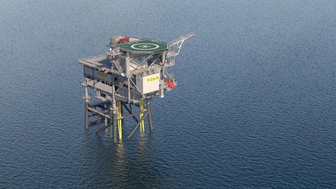 Het offshore-platform in de Noordzee.