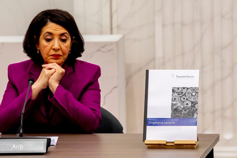 Khadija Arib tijdens de presentatie van het eindverslag van de parlementaire ondervragingscommissie Kinderopvangtoeslag. Beeld Hollandse Hoogte / Robin Utrecht