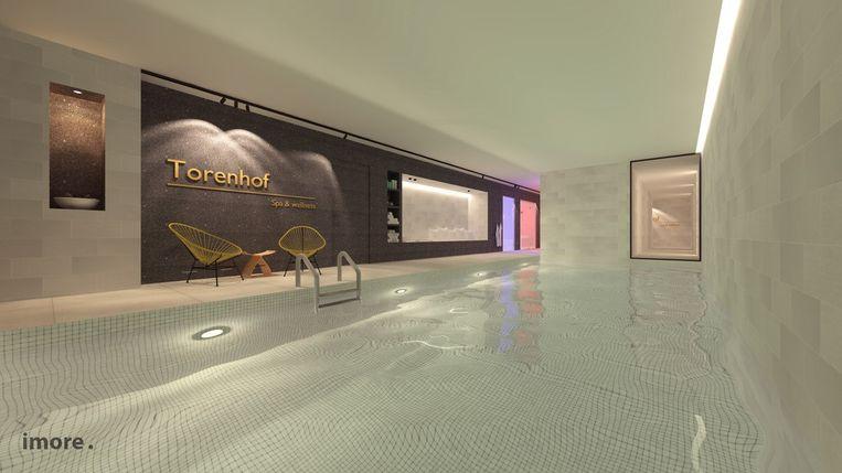 Een toekomstbeeld van het hotel binnenin.