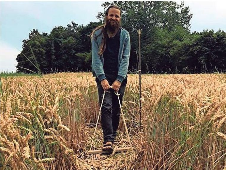 """Jan maakt de graancirkels met een touw en een plank, """"als een grote, levende passer""""."""