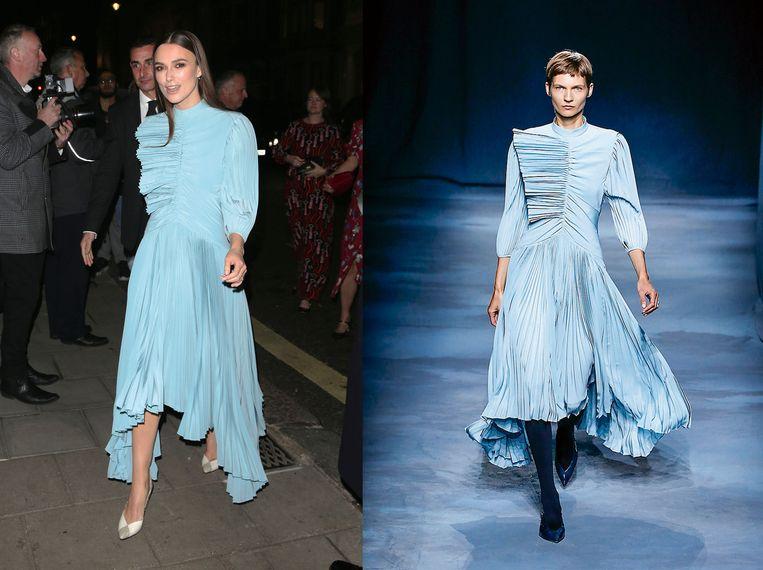 Keira Knightly links in de jurk van Givenchy, rechts gedragen door een model op de catwalk.  Beeld Team Peter Stigter
