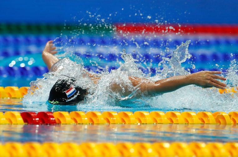 Ranomi Kromowidjojo op weg naar het goud op de 50 meter vlinderslag, een niet-olympisch nummer.  Beeld AP