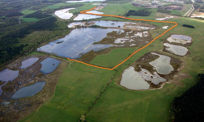 Het tracé van de gedempte Heibloemsloot.