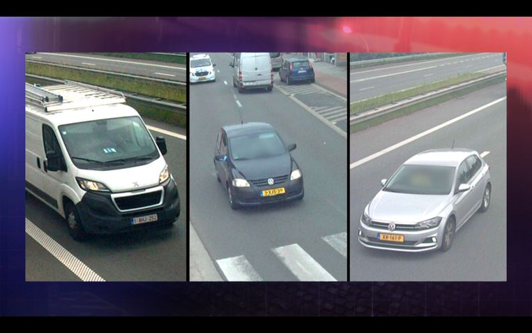 De camera's op de grensovergang in Zandvliet filmt niet enkel de bestelwagen van Johan Van der Heyden maar ook de twee auto's van de verdachten die er net voor en achter rijden. Beeld VTM