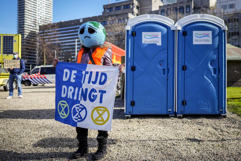 Demonstranten tijdens de klimaatdemonstratie op 14 maart in Den Haag.
