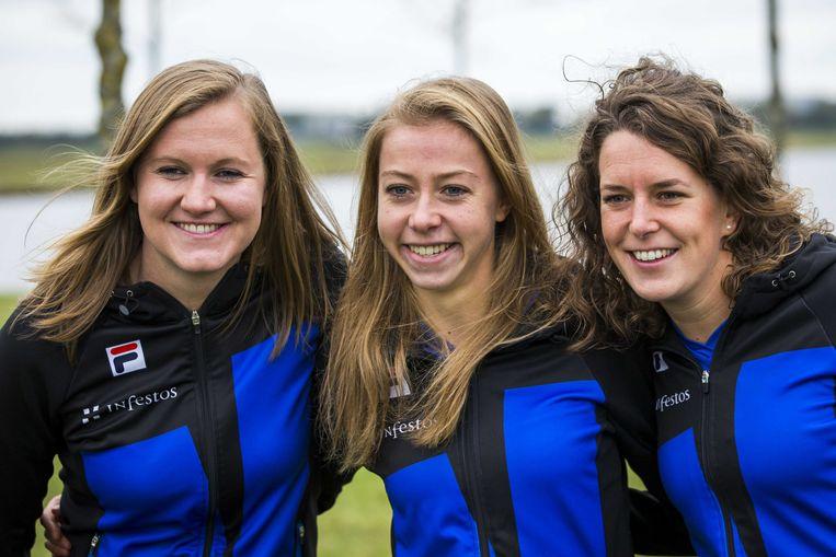 Lotte van Beek, Esmee Visser en Ireen Wust (vlnr). Beeld ANP