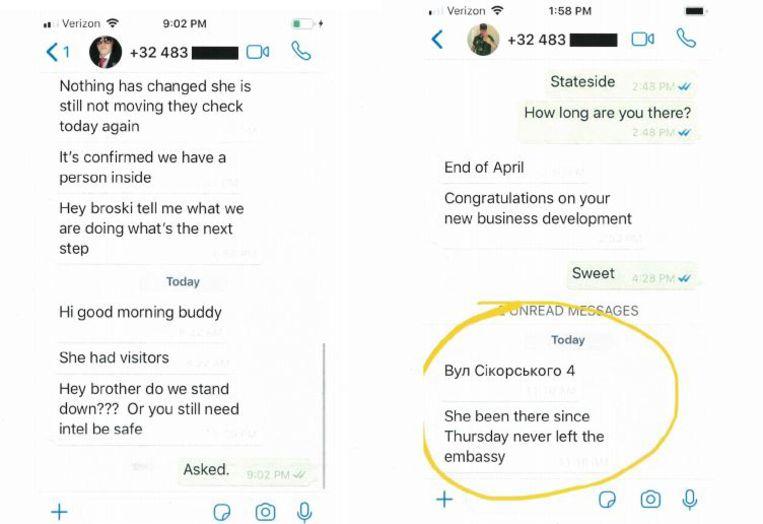 De sms-berichten afkomstig van het gsm-nummer van Anthony de Caluwé. Beeld rv