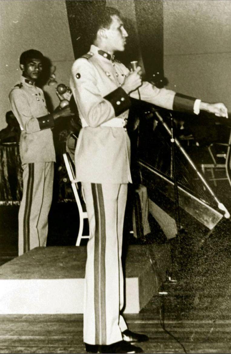 Chavez tijdens een muzikaal event aan de militaire academie. Beeld AP