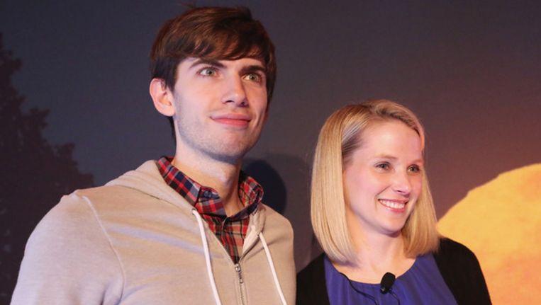 Tumblr-oprichter David Karp met Yahoo-ceo Marissa Mayer. Beeld null