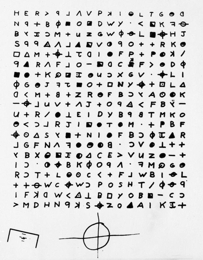 Een kopie van het cryptogram dat de Zodiac Killer in 1969 naar de krant San Francisco Chronicle zond en dat een Belg mee hielp ontcijferen.