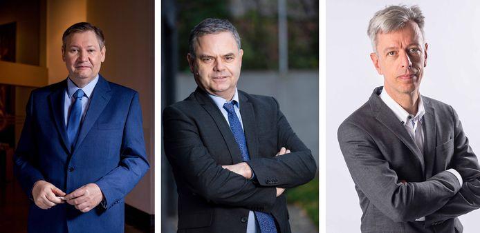 Van links naar rechts: geldexperts Paul D'Hoore, Pascal Paepen en Geert Noels.