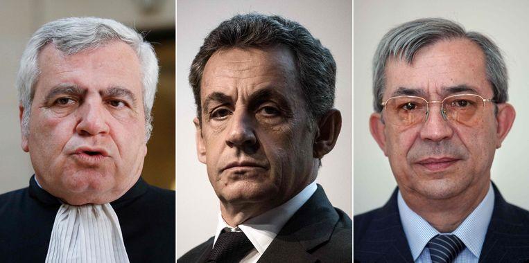 (vlnr) Advocaat Thierry Herzog, oud-president Nicolas Sarkozy en rechter Gilbert Azibert.  Beeld AFP