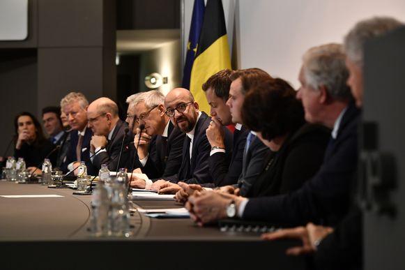 De eerste persconferentie van de regering-Michel II afgelopen week.