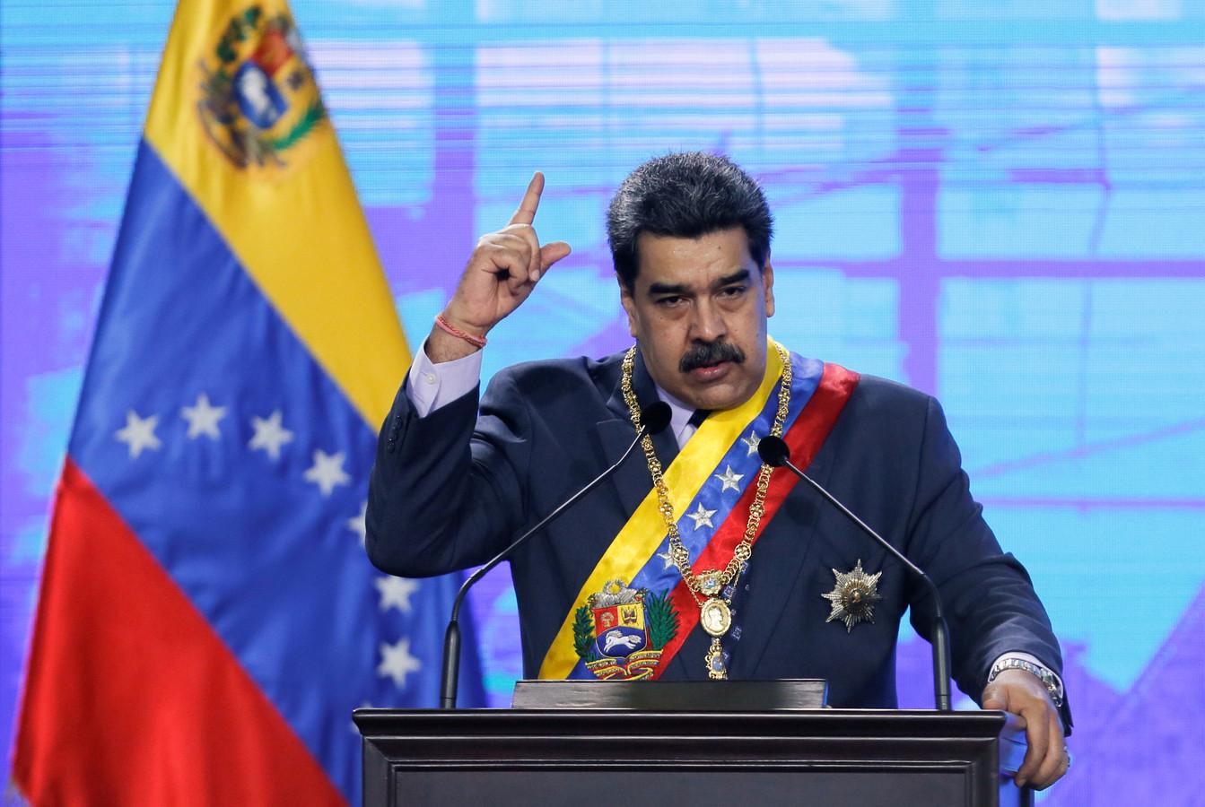 De Venezolaanse president Nicolas Maduro vrijdag tijdens een toespraak in de hoofdstad Caracas.