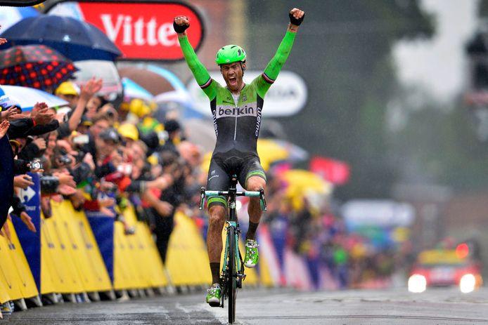 Boom schreeuwt het uit na zijn ritzege in de Tour de France 2014.