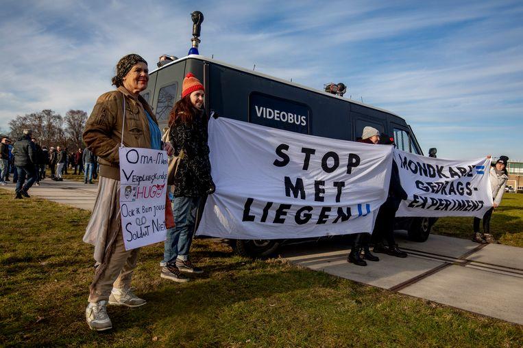 Een anti-coronaprotest in Apeldoorn. Beeld BSR Agency