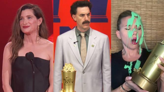 Hilarische 'Borat'-sketch, slijmdouche voor Scarlett Johansson: dit waren de MTV Movie Awards