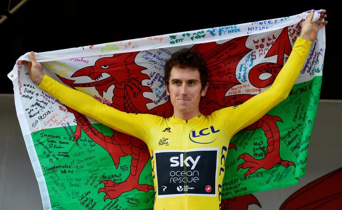 Geraint Thomas na het winnen van de Tour de France afgelopen zomer.