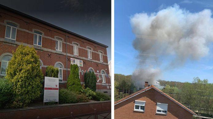 L'école de la Motte à Courcelles a assisté à la déflagration et au dégagement de fumée provenant de la société Keyser et fils.