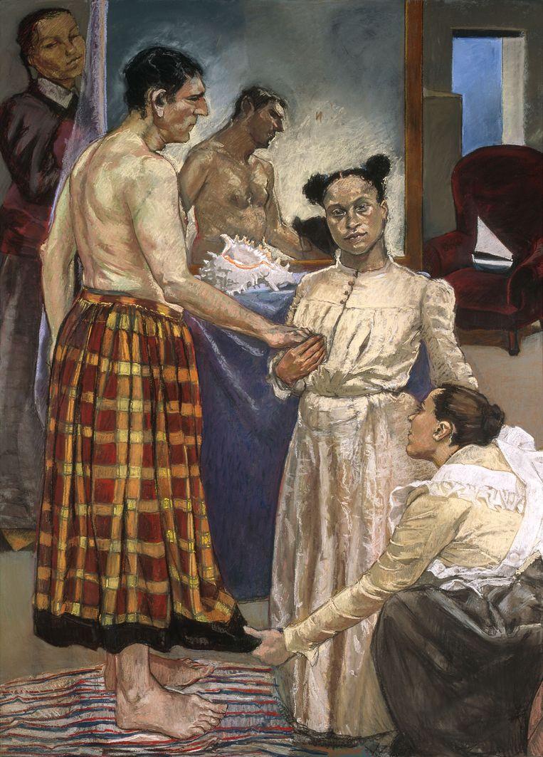 Paula Rego: Mãe (1997), uit de serie O Crime do Padre Amaro. Beeld Gulbenkian museum, Lissabon.