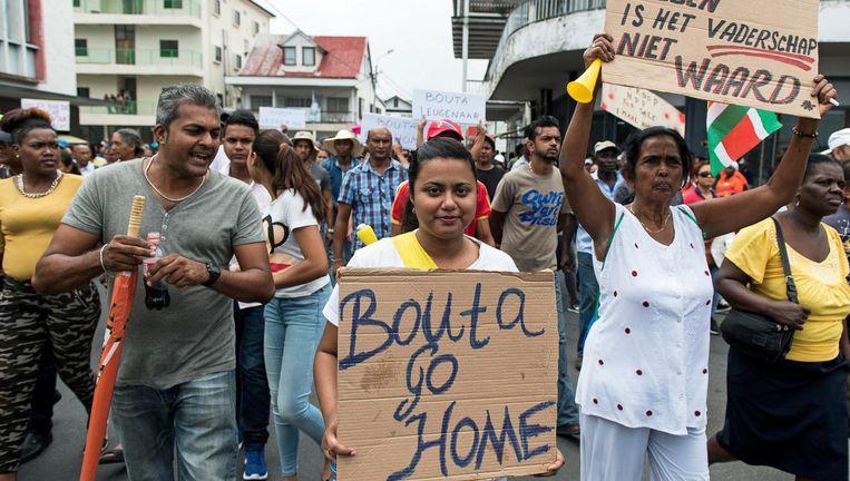 Ook in april werd in Paramaribo tegen Bouterse gedemonstreerd. Beeld anp