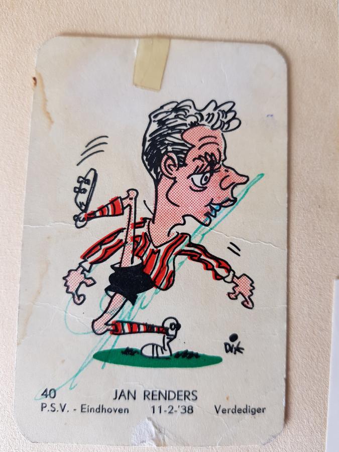 Jan Renders als voetbalstripfiguur, mét handtekening van de speler zelf.