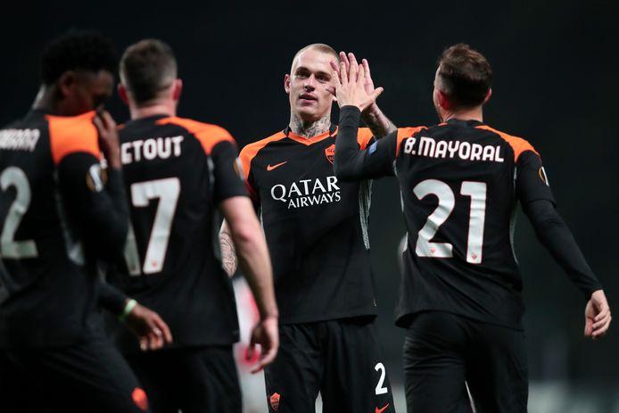 Rick Karsdorp met Borja Mayoral en Jordan Veretout tijdens Sporting Braga - AS Roma.