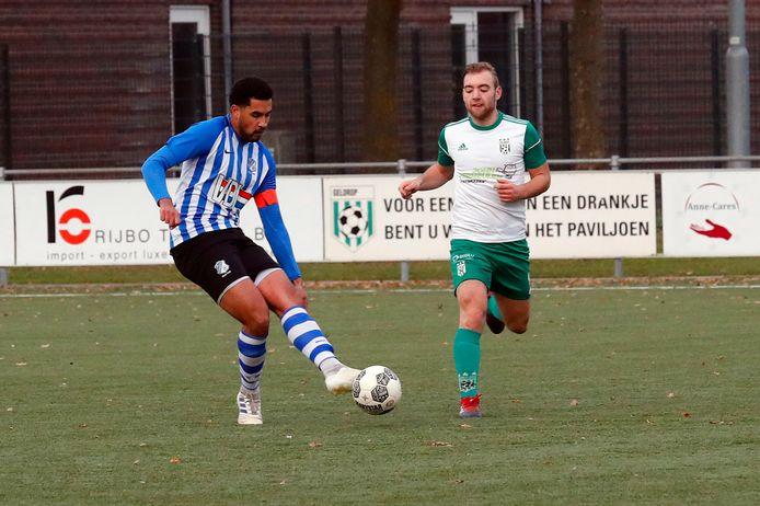 Archiefbeeld uit de bekerwedstrijd Geldrop - FC Eindhoven/AV uit 2019 die door de bezoekers met 0-2 werd gewonnen. Gisteren werd de wedstrijd in de rust gestaakt.