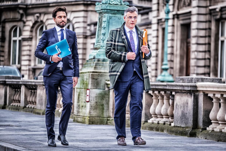 Informateurs Georges-Louis Bouchez (MR) en Joachim Coens (CD&V). Beeld Tim Dirven