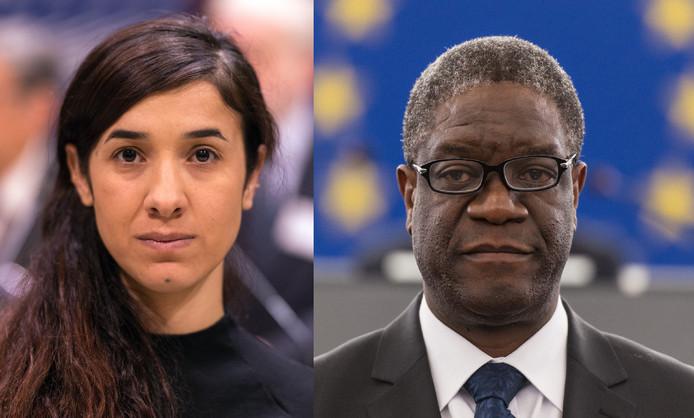 De winnaars van de Nobelprijs voor de Vrede 2018: jezedi-activist en slachtoffer van seksueel geweld Nadia Murad en de Congolese gynaecoloog Denis Mukwege.