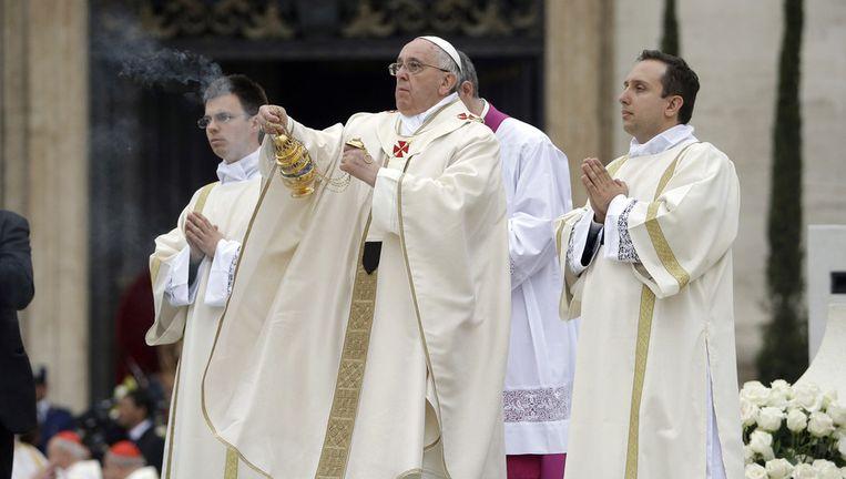 Paus Franciscus tijdens de plechtigheid vandaag. Beeld ap