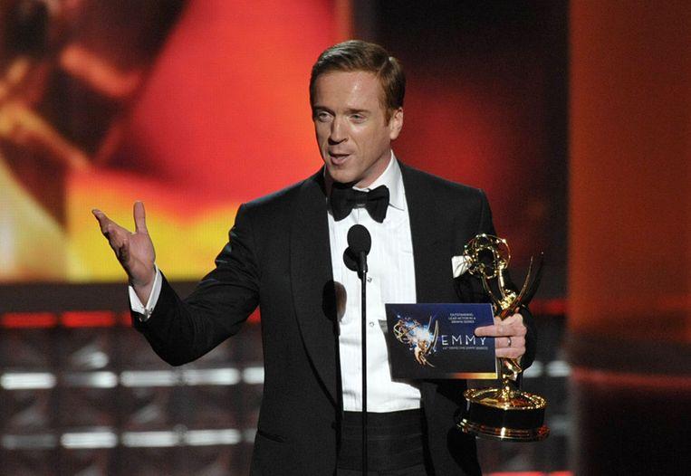De Brit Damian Lewis, hoofdrolspeler uit 'Homeland', zondag onderscheiden met een Emmy Award als beste acteur. Beeld ap