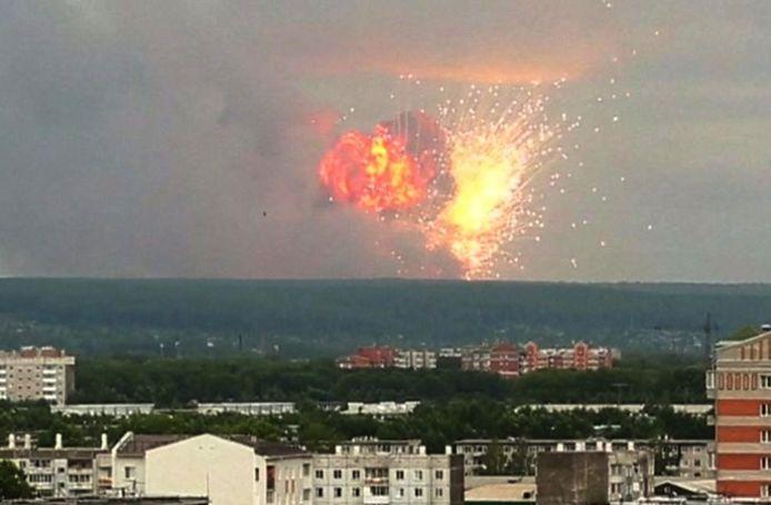 De ontploffing in de buurt van Krasnojarsk.