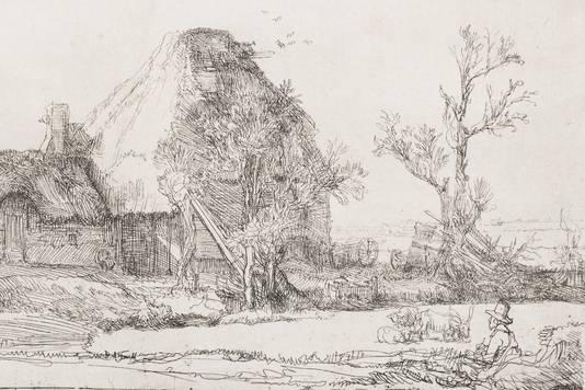 Landschap met schilder, ets van Rembrandt.