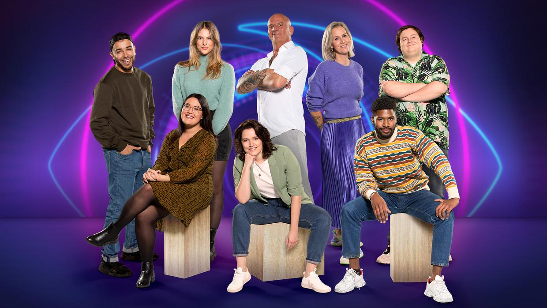 De acht kandidaten van 'Big Brother', anno 2021. Beeld VIER