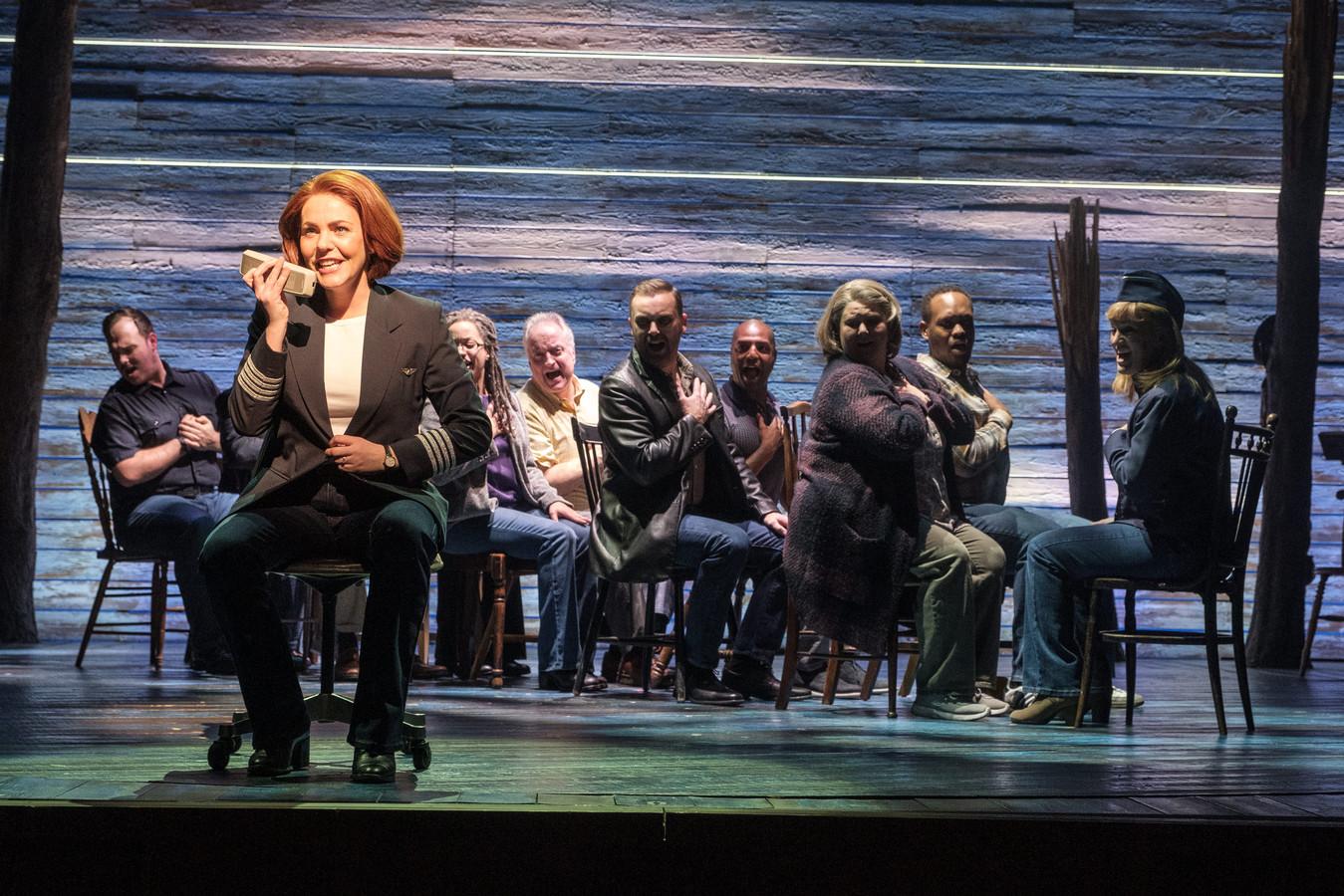 Rachel Tucker in Come From Away, in het Phoenix Theatre in Londen, februari 2019.