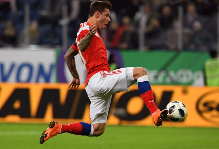 ► Rusland verwacht op het WK veel van aanvaller Fedor Smolov. Hij scoorde dinsdag het enige Russische doepunt tegen Frankrijk (1-3). Beeld AFP