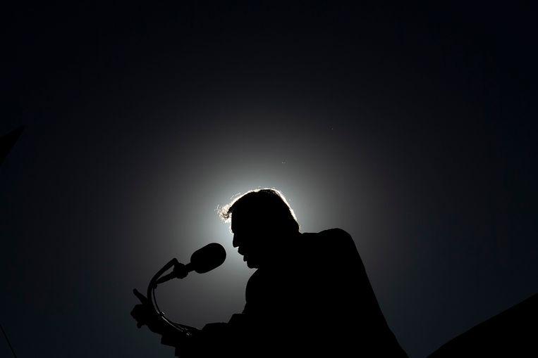 Donald Trump op een verkiezingsbijeenkomst eind oktober in Arizona. Beeld AFP